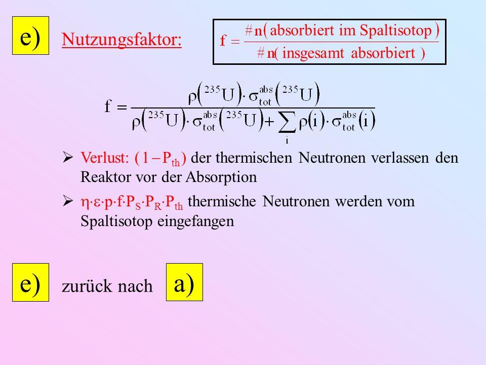 e) e) a) Nutzungsfaktor: zurück nach absorbiert im Spaltisotop