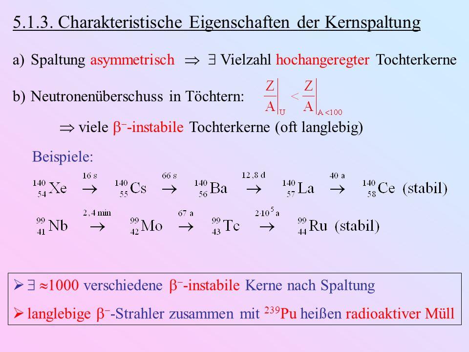 5.1.3. Charakteristische Eigenschaften der Kernspaltung