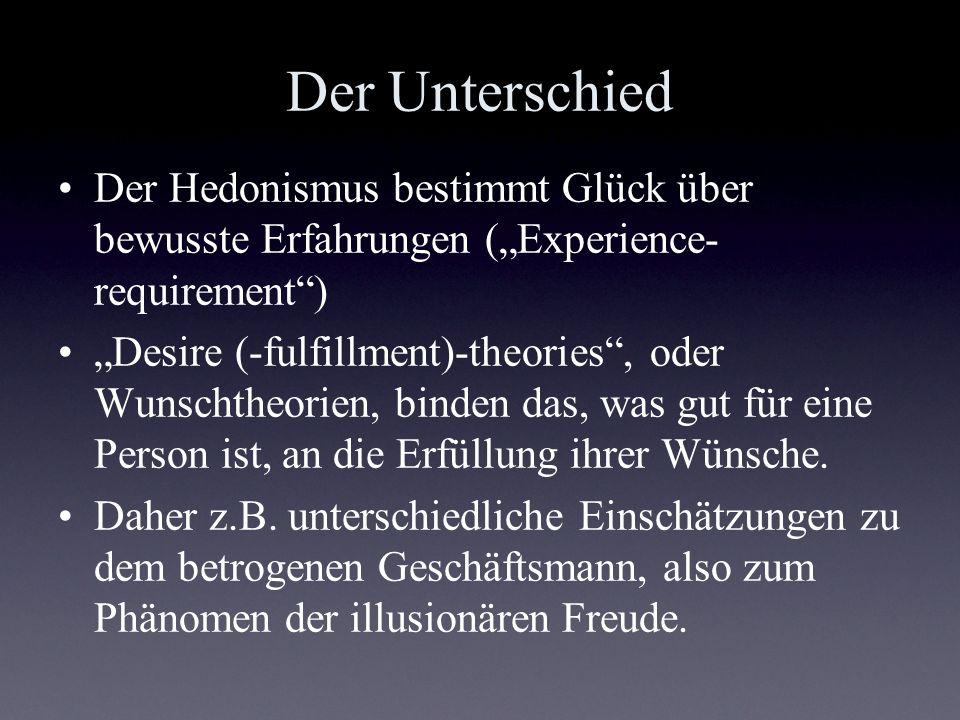 """Der Unterschied Der Hedonismus bestimmt Glück über bewusste Erfahrungen (""""Experience-requirement )"""
