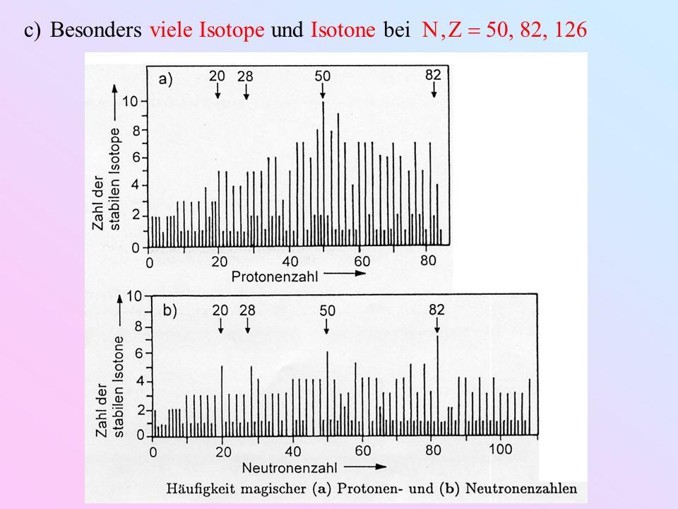 Besonders viele Isotope und Isotone bei N , Z  50, 82, 126