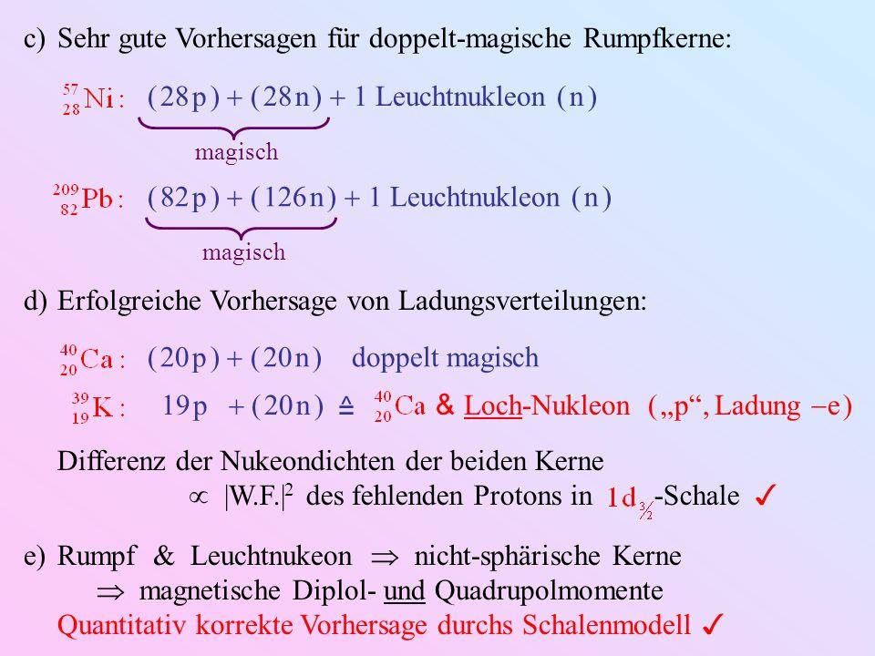 Sehr gute Vorhersagen für doppelt-magische Rumpfkerne: