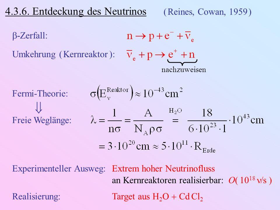  4.3.6. Entdeckung des Neutrinos ( Reines, Cowan, 1959 ) -Zerfall: