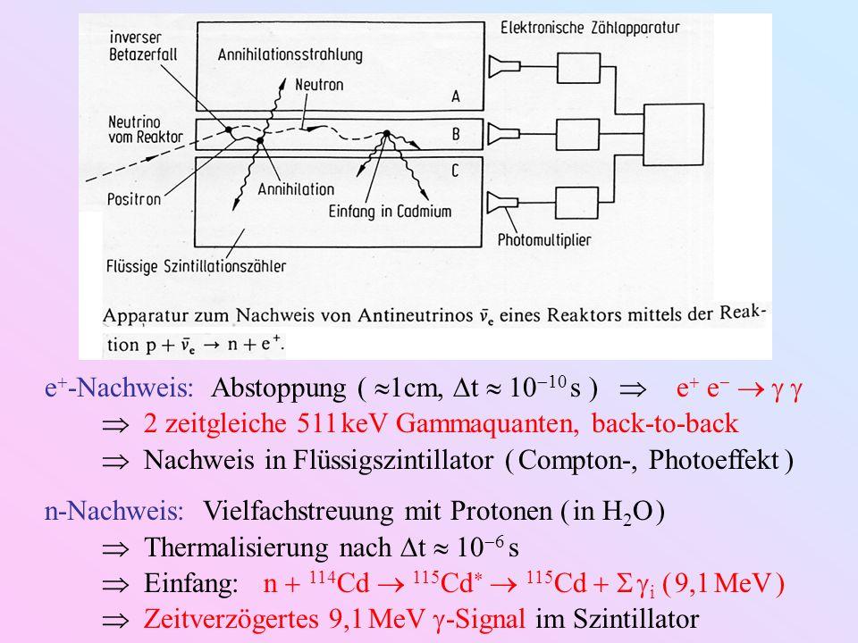 e-Nachweis: Abstoppung ( 1cm, t  1010 s )  e e   