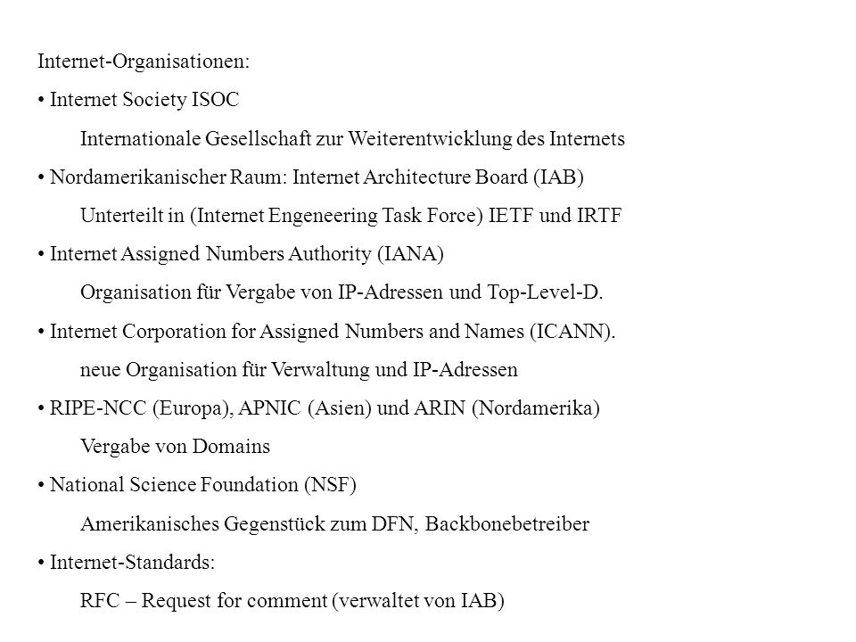 Internet-Organisationen: