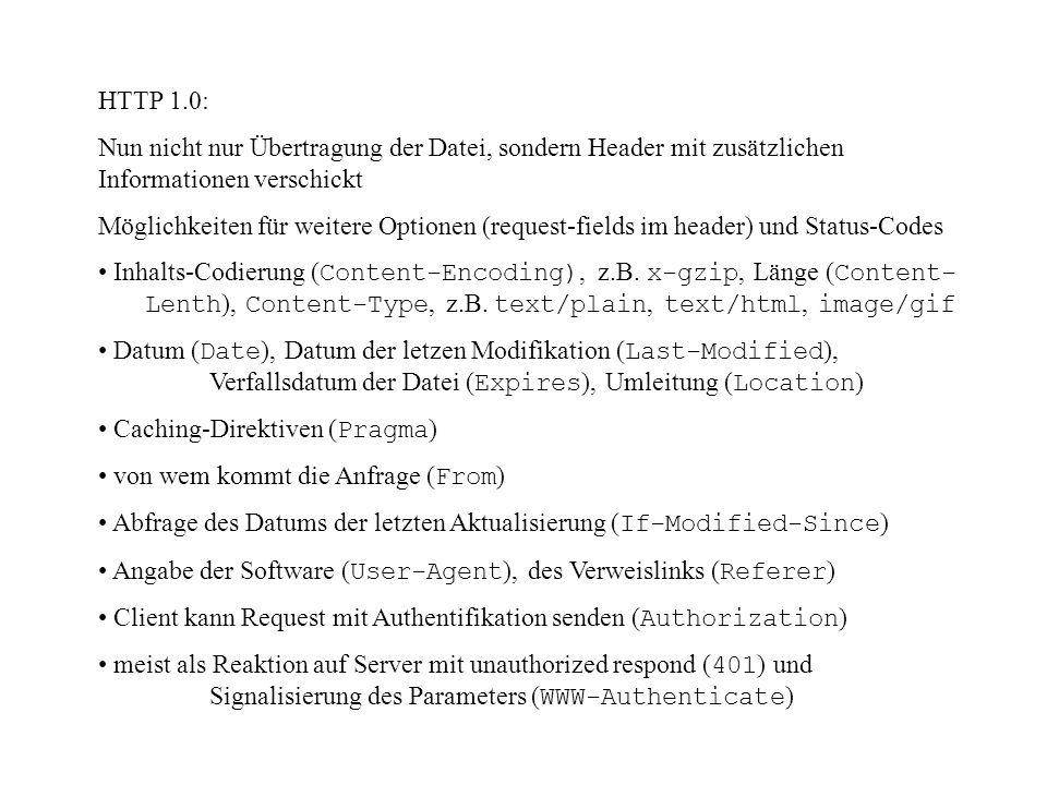 HTTP 1.0: Nun nicht nur Übertragung der Datei, sondern Header mit zusätzlichen Informationen verschickt.