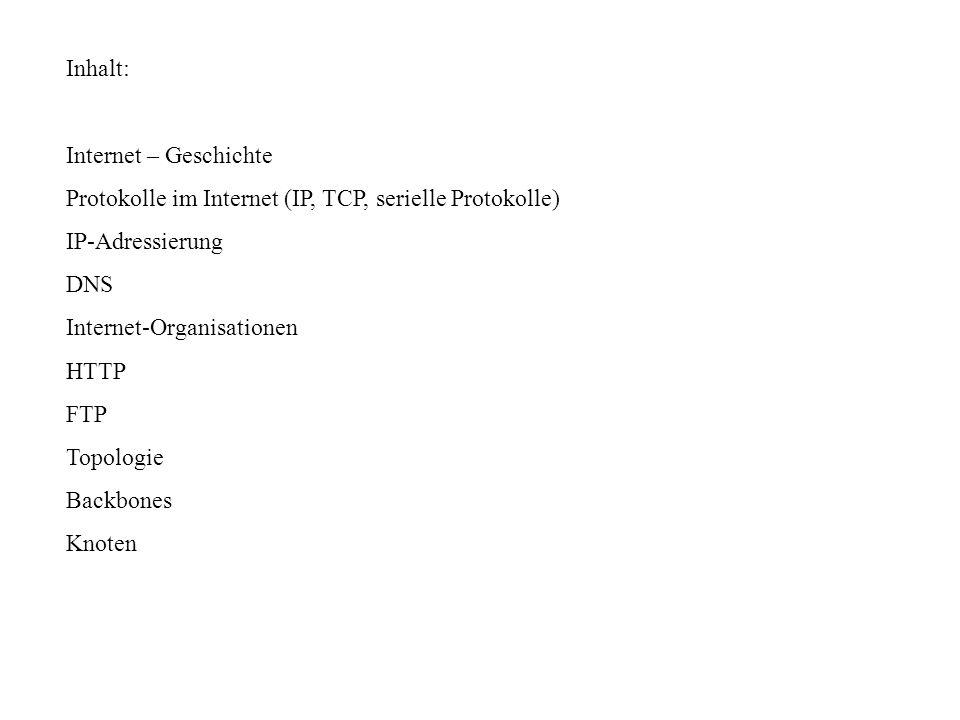 Inhalt: Internet – Geschichte. Protokolle im Internet (IP, TCP, serielle Protokolle) IP-Adressierung.
