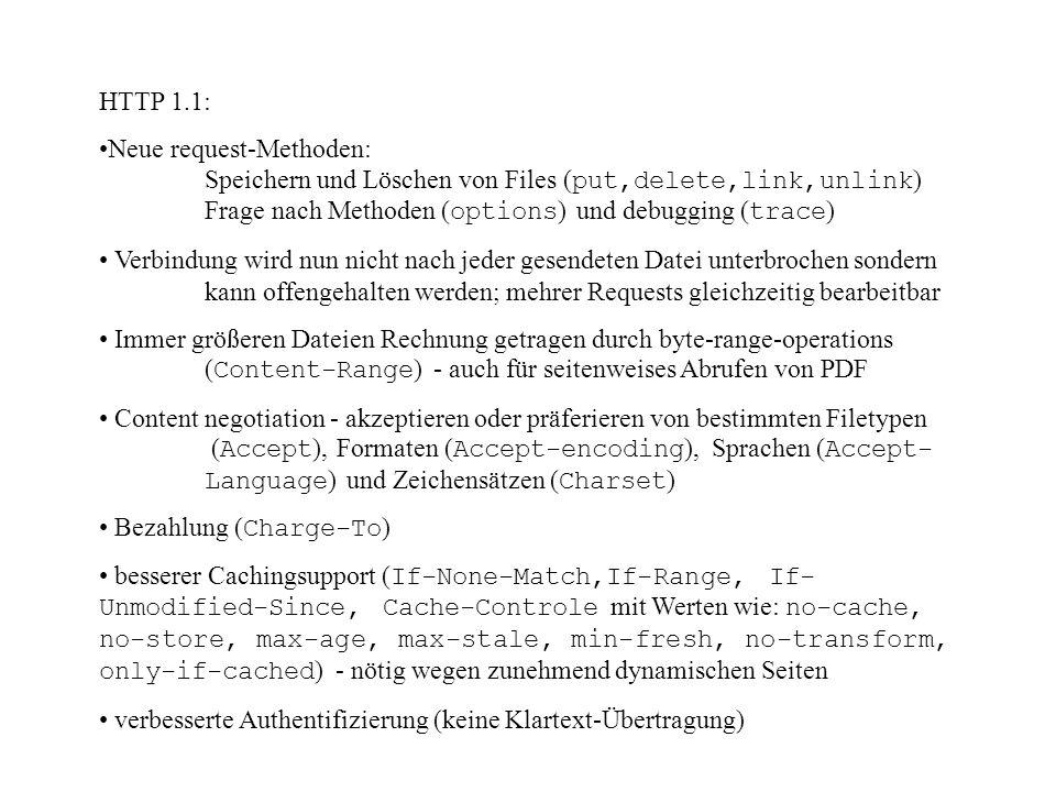 HTTP 1.1: Neue request-Methoden: Speichern und Löschen von Files (put,delete,link,unlink) Frage nach Methoden (options) und debugging (trace)