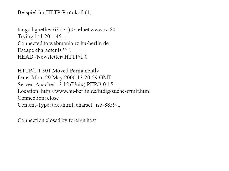 Beispiel für HTTP-Protokoll (1):