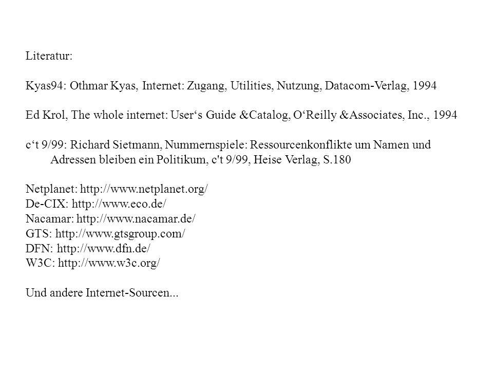 Literatur: Kyas94: Othmar Kyas, Internet: Zugang, Utilities, Nutzung, Datacom-Verlag, 1994.