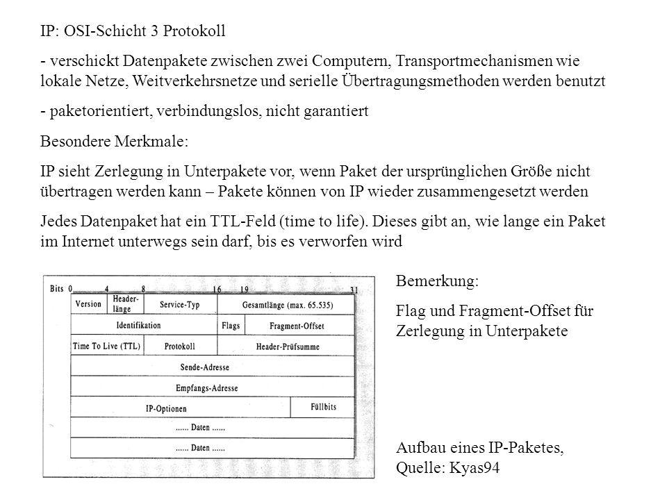 IP: OSI-Schicht 3 Protokoll