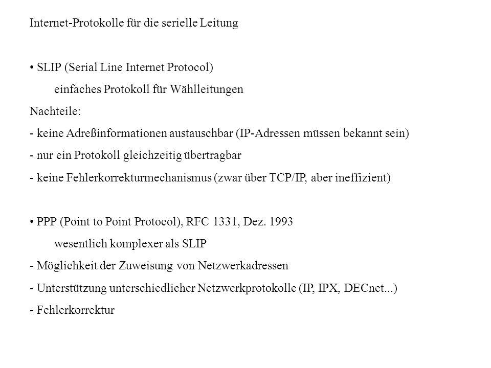 Internet-Protokolle für die serielle Leitung