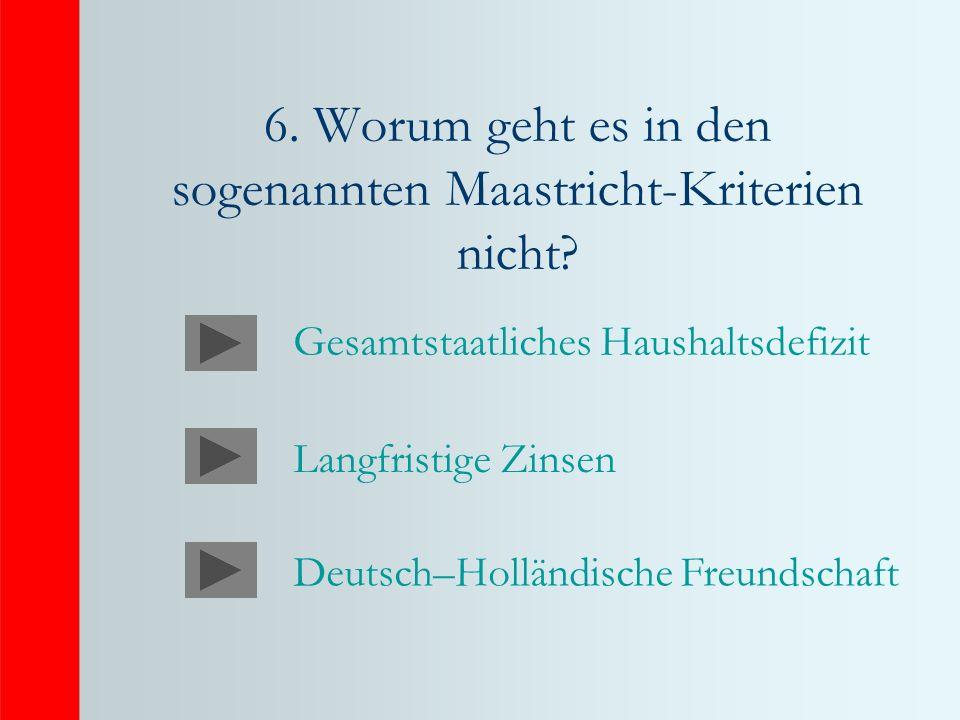 6. Worum geht es in den sogenannten Maastricht-Kriterien nicht
