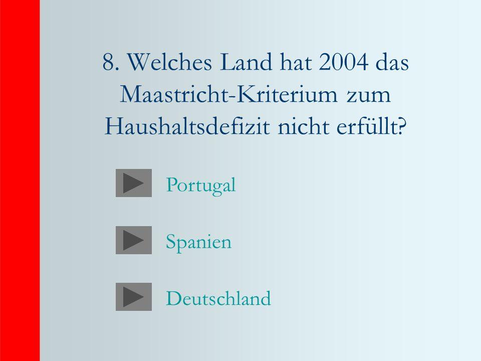 8. Welches Land hat 2004 das Maastricht-Kriterium zum Haushaltsdefizit nicht erfüllt