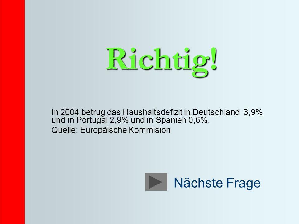 Richtig! In 2004 betrug das Haushaltsdefizit in Deutschland 3,9% und in Portugal 2,9% und in Spanien 0,6%.