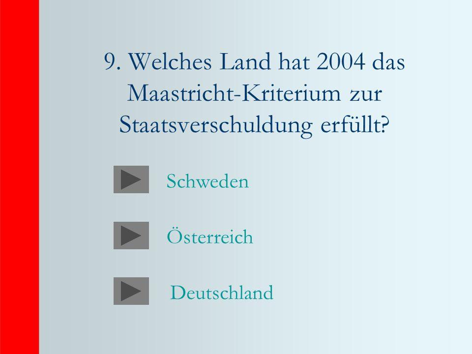 9. Welches Land hat 2004 das Maastricht-Kriterium zur Staatsverschuldung erfüllt