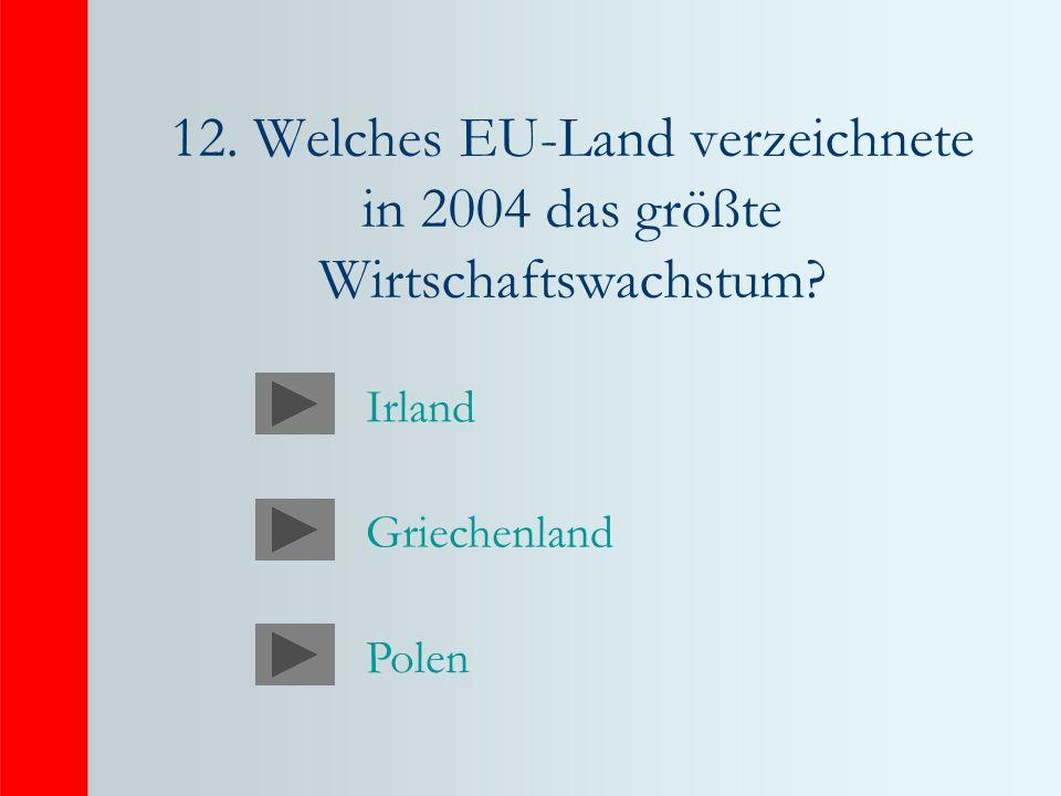 12. Welches EU-Land verzeichnete in 2004 das größte Wirtschaftswachstum