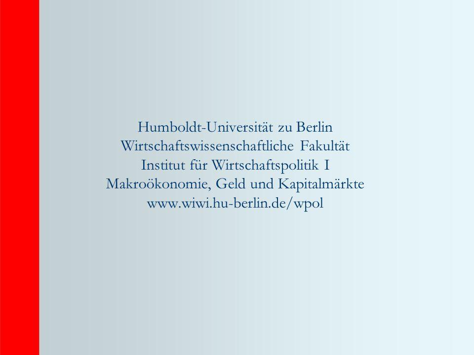 Humboldt-Universität zu Berlin Wirtschaftswissenschaftliche Fakultät