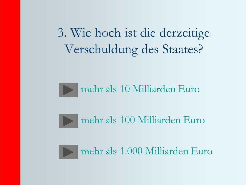 3. Wie hoch ist die derzeitige Verschuldung des Staates