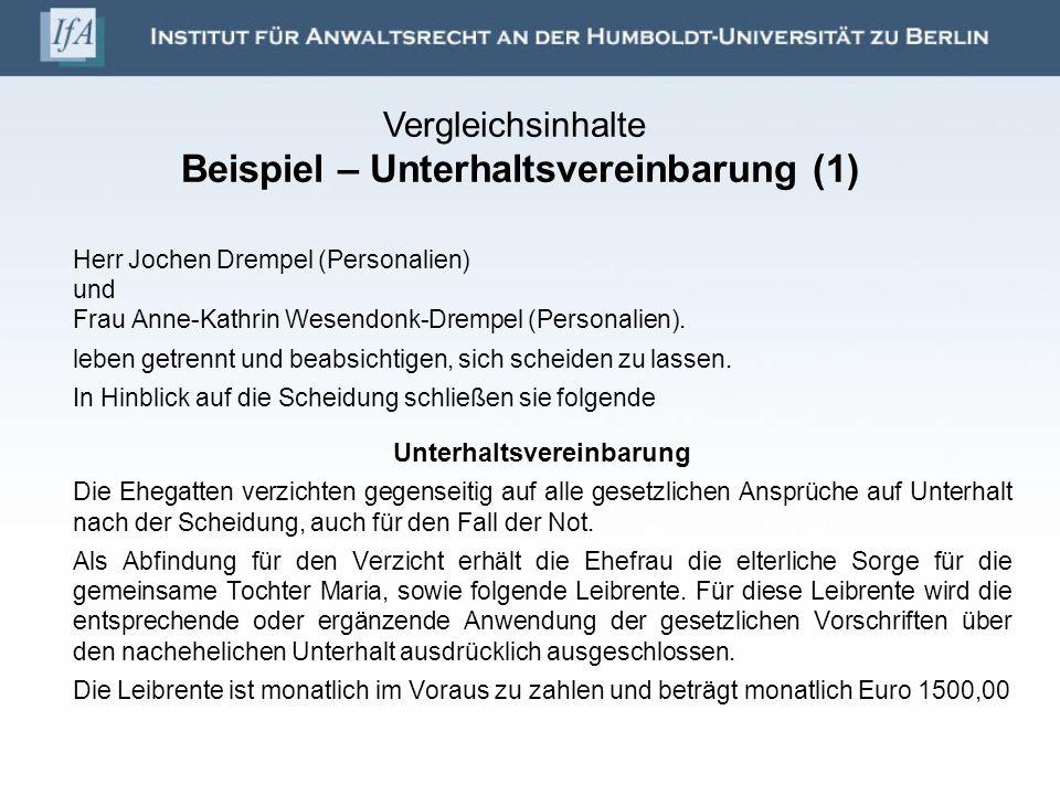 Vergleichsinhalte Beispiel – Unterhaltsvereinbarung (1)