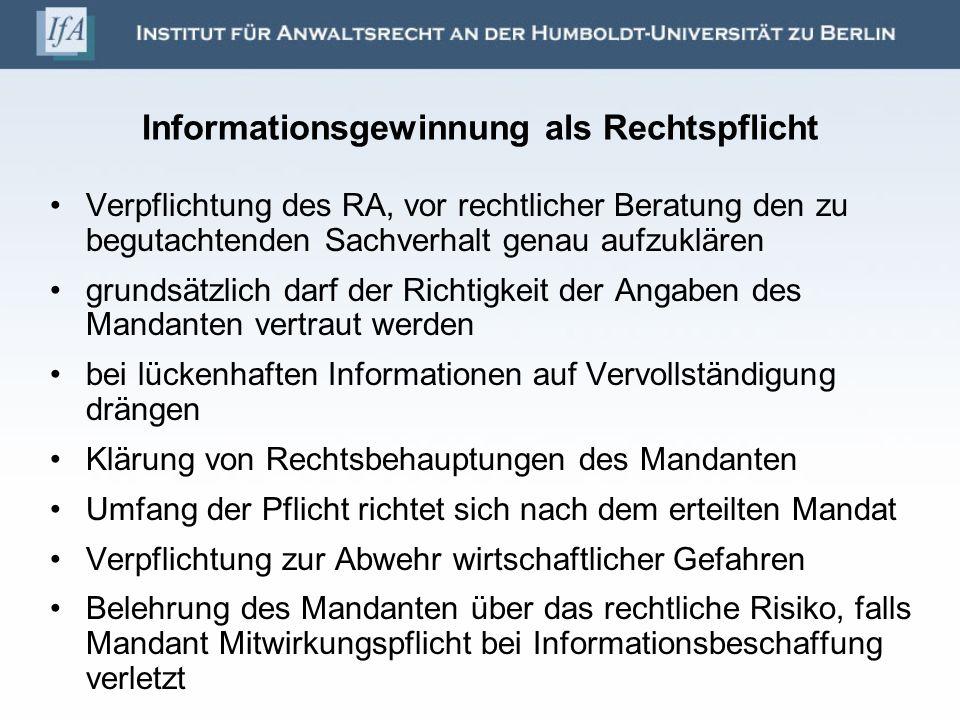 Informationsgewinnung als Rechtspflicht