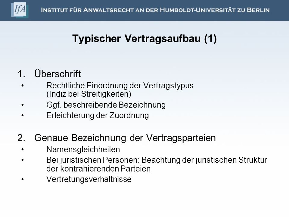 Typischer Vertragsaufbau (1)