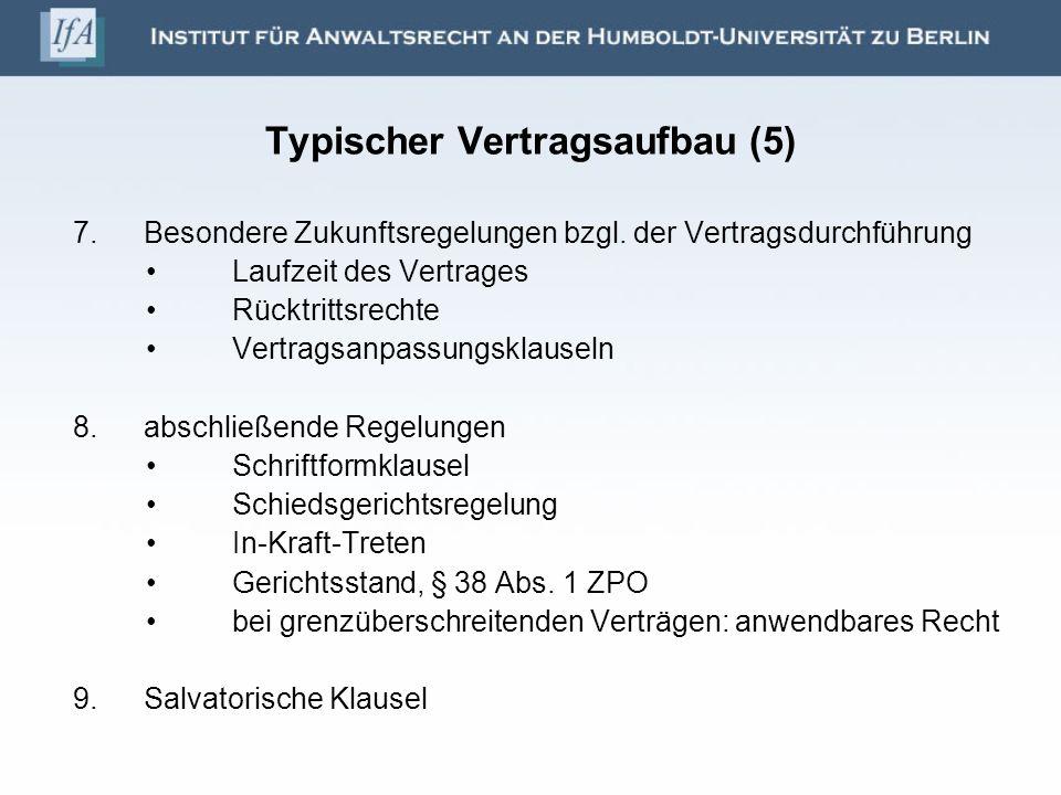 Typischer Vertragsaufbau (5)