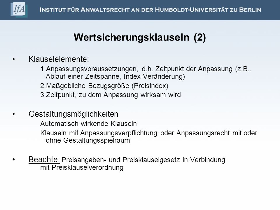 Wertsicherungsklauseln (2)