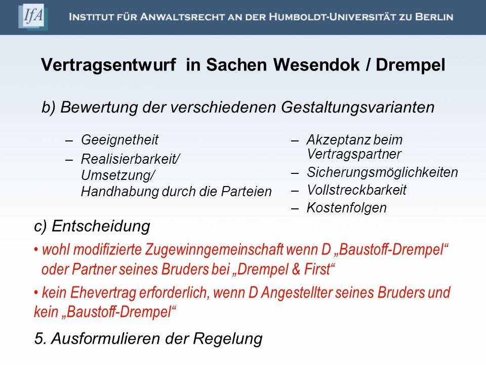 Vertragsentwurf in Sachen Wesendok / Drempel