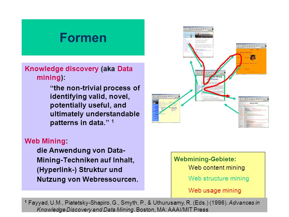 Formen Knowledge discovery (aka Data mining):