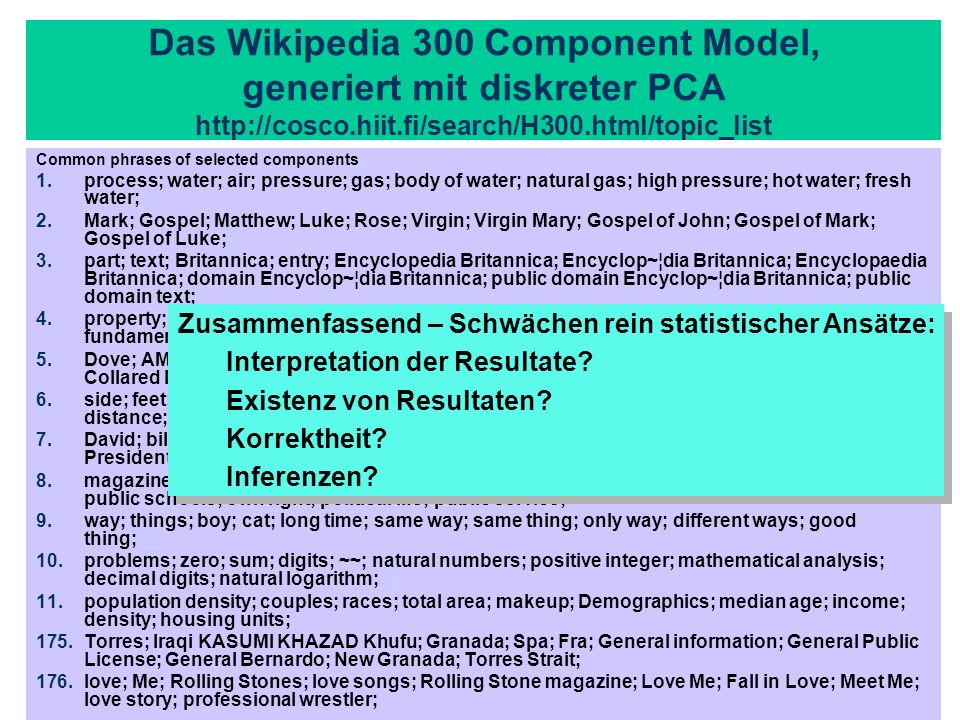 Das Wikipedia 300 Component Model, generiert mit diskreter PCA http://cosco.hiit.fi/search/H300.html/topic_list
