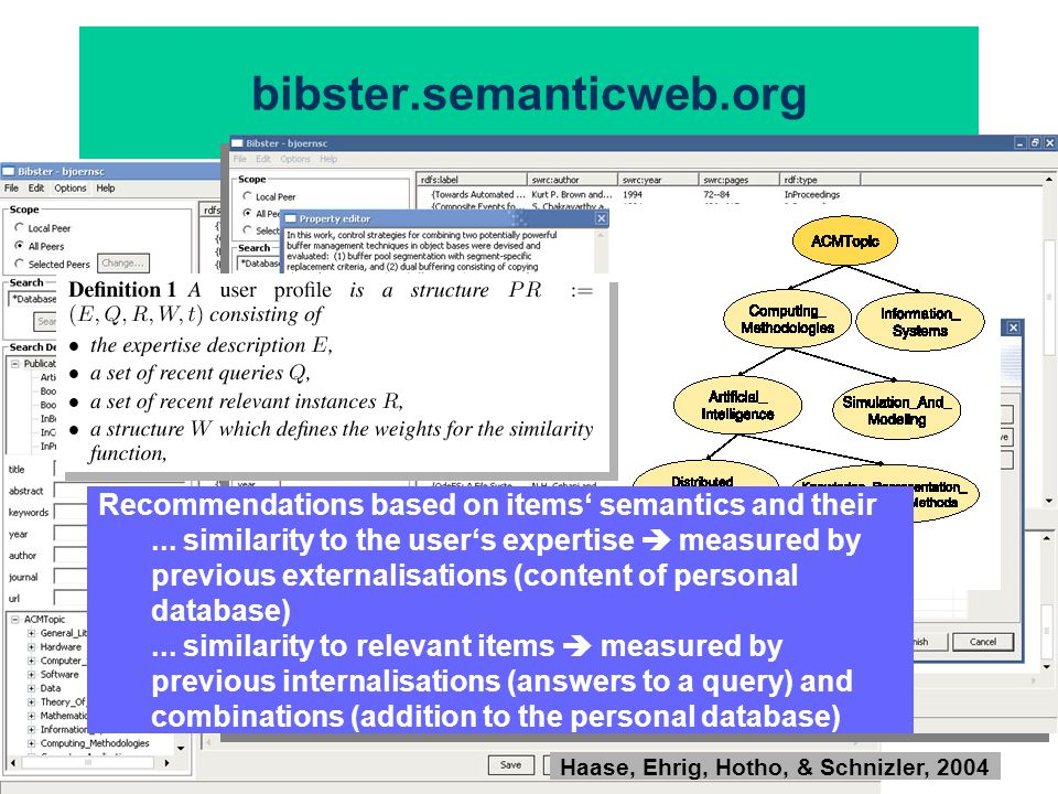 bibster.semanticweb.org Recommendations based on items' semantics and their.