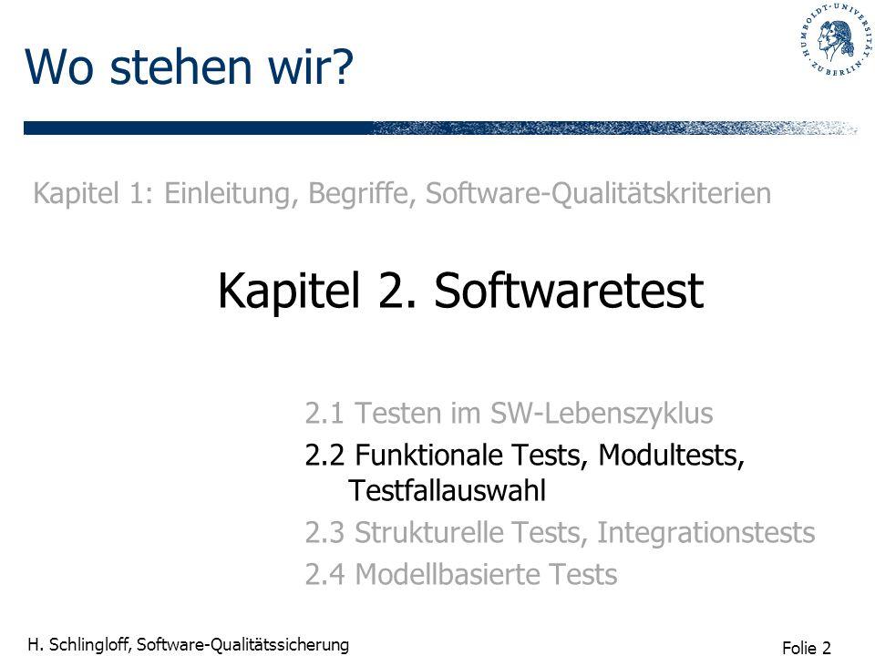 Wo stehen wir Kapitel 2. Softwaretest