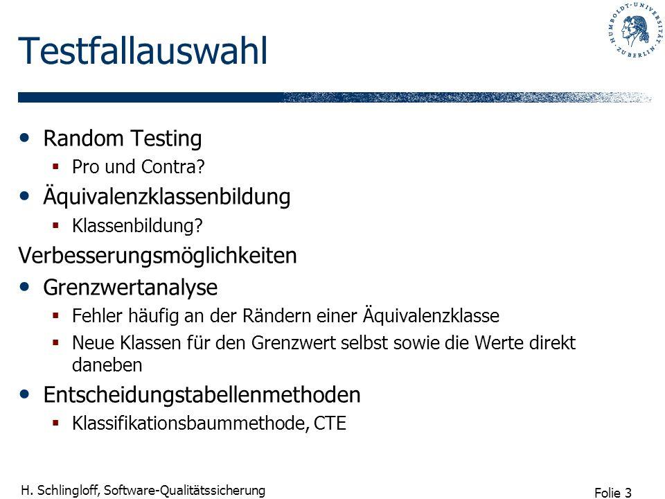 Testfallauswahl Random Testing Äquivalenzklassenbildung