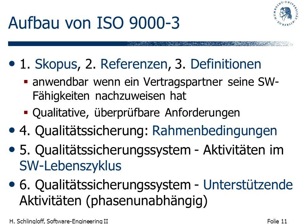Aufbau von ISO 9000-3 1. Skopus, 2. Referenzen, 3. Definitionen