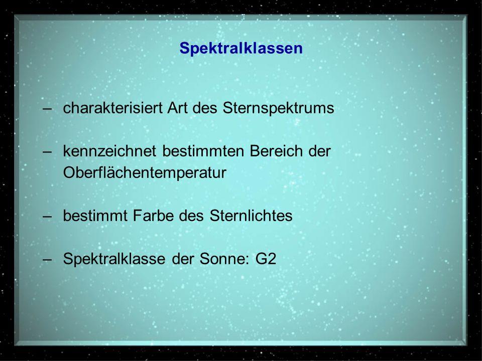 Spektralklassen – charakterisiert Art des Sternspektrums. – kennzeichnet bestimmten Bereich der. Oberflächentemperatur.