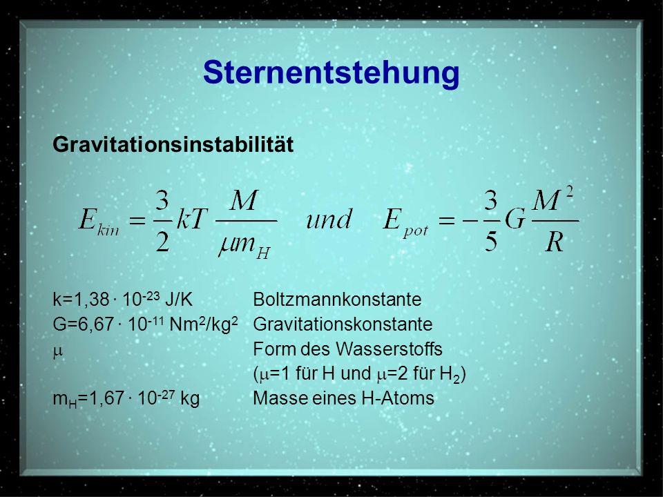 Sternentstehung Gravitationsinstabilität