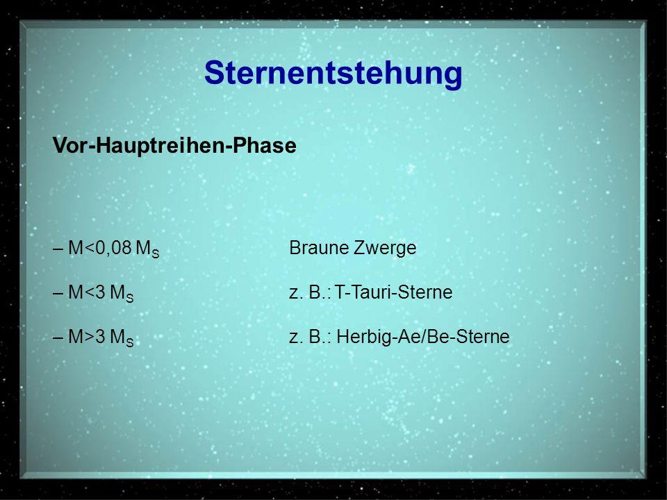Sternentstehung Vor-Hauptreihen-Phase – M<0,08 MS Braune Zwerge