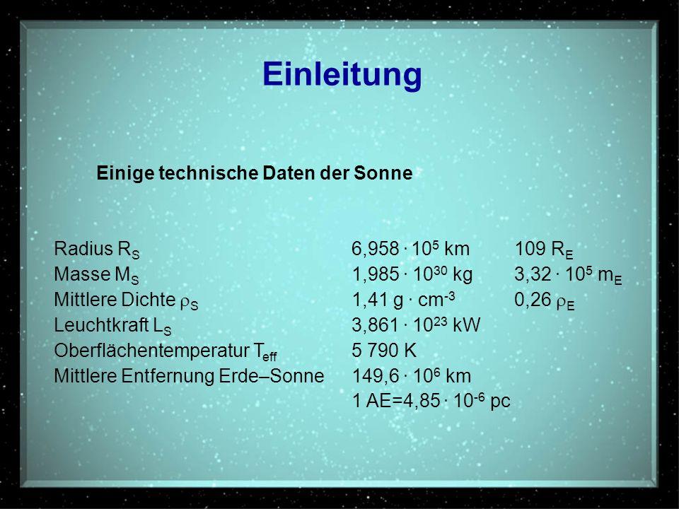 Einleitung Einige technische Daten der Sonne