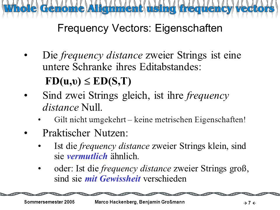 Frequency Vectors: Eigenschaften