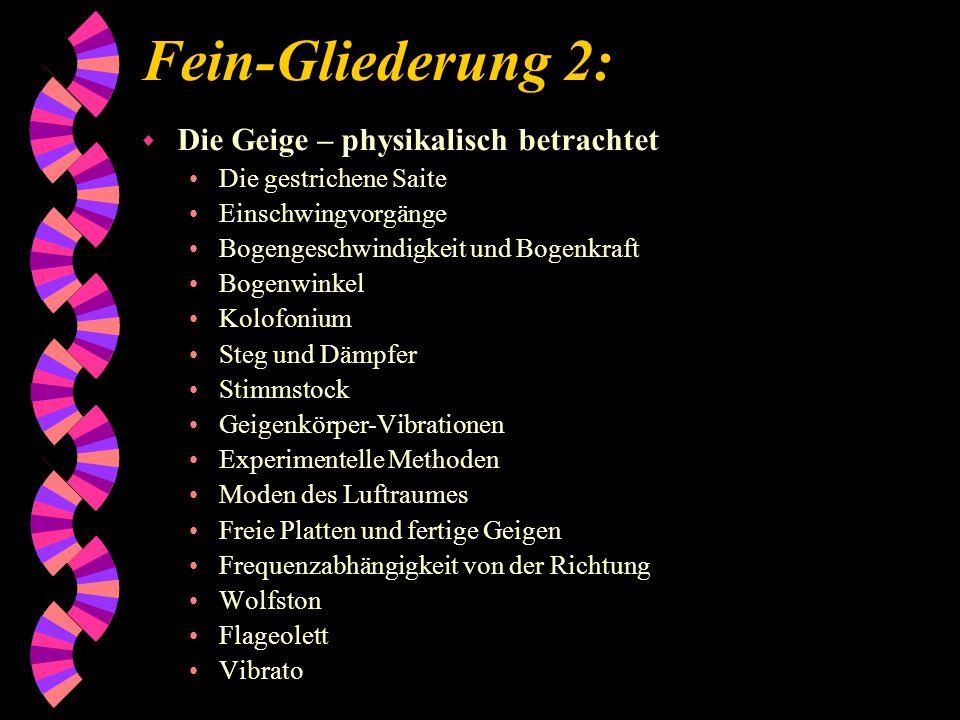 Fein-Gliederung 2: Die Geige – physikalisch betrachtet
