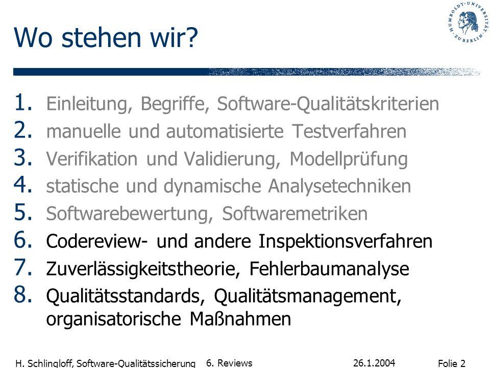 Wo stehen wir Einleitung, Begriffe, Software-Qualitätskriterien