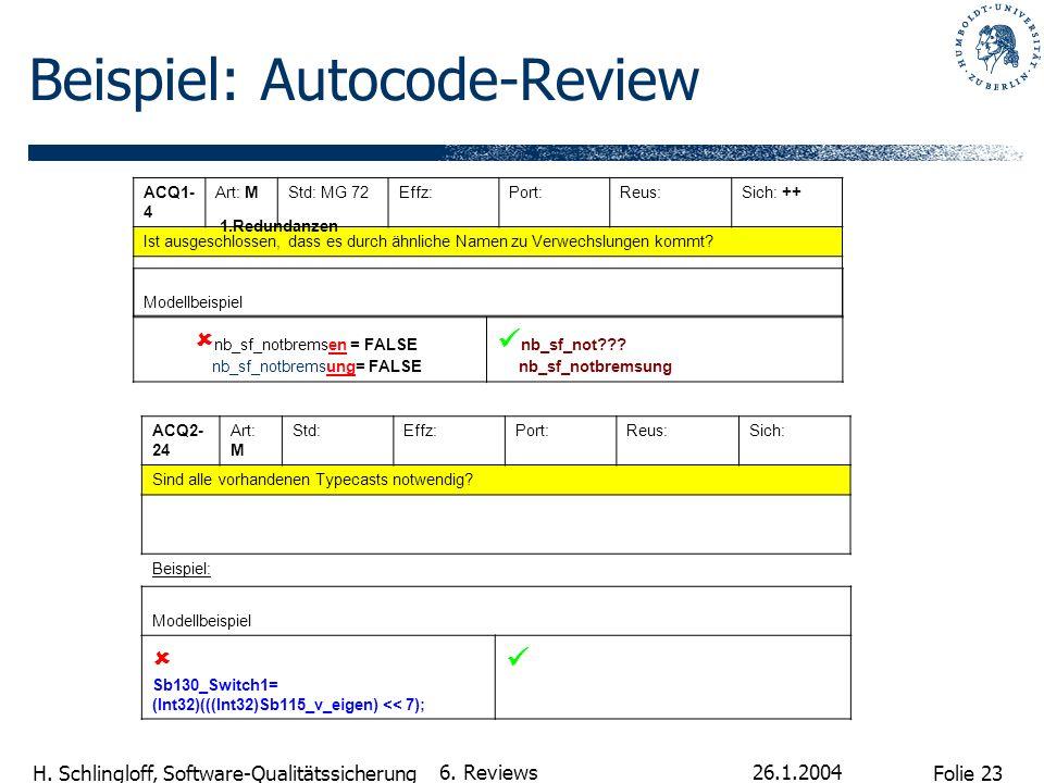 Beispiel: Autocode-Review