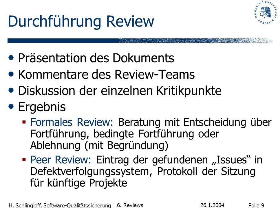 Durchführung Review Präsentation des Dokuments