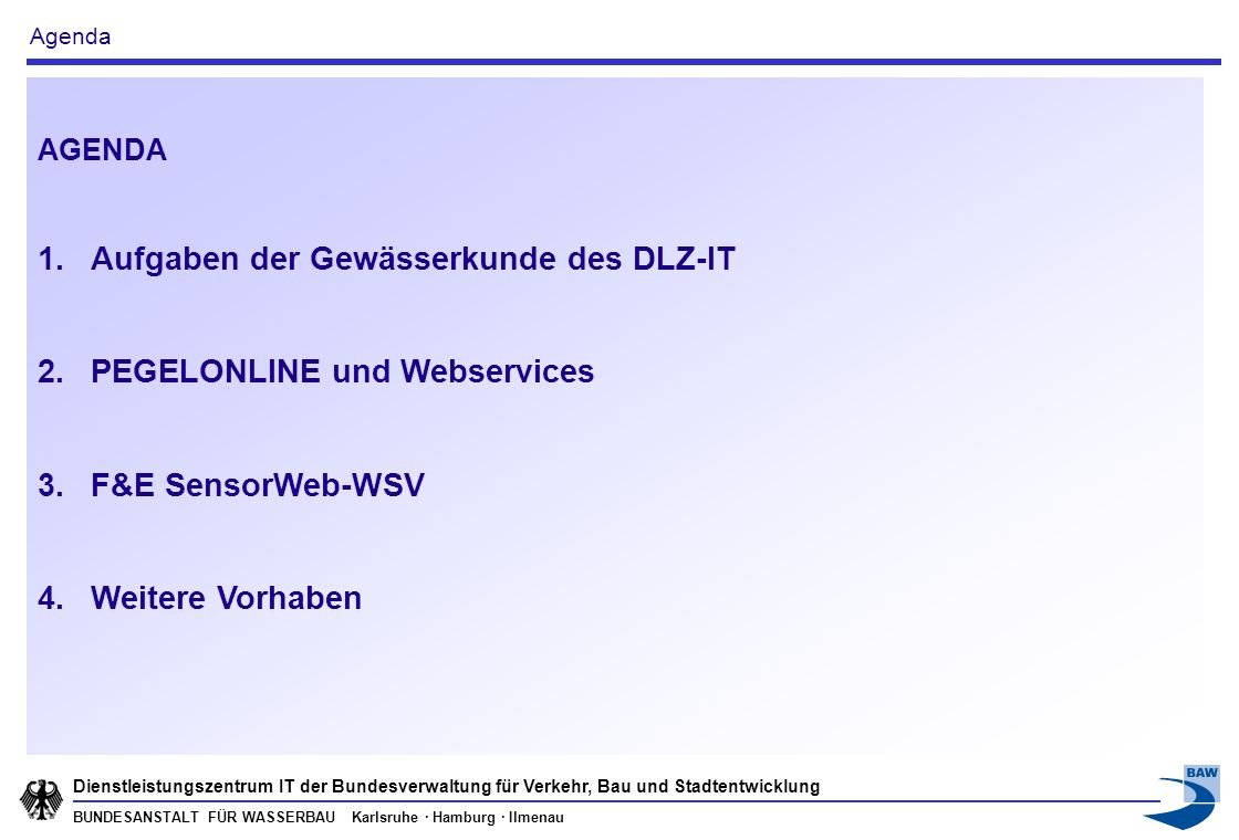 Aufgaben der Gewässerkunde des DLZ-IT