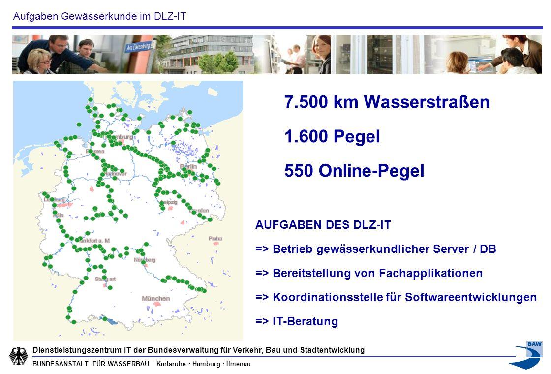 7.500 km Wasserstraßen 1.600 Pegel 550 Online-Pegel