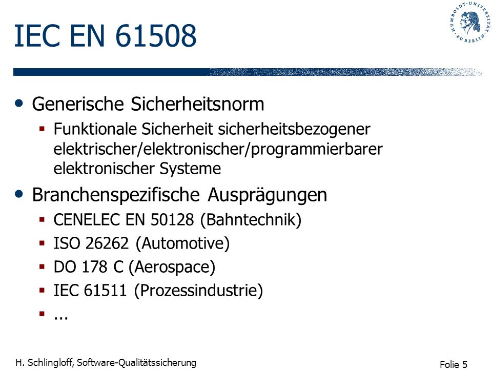 IEC EN 61508 Generische Sicherheitsnorm