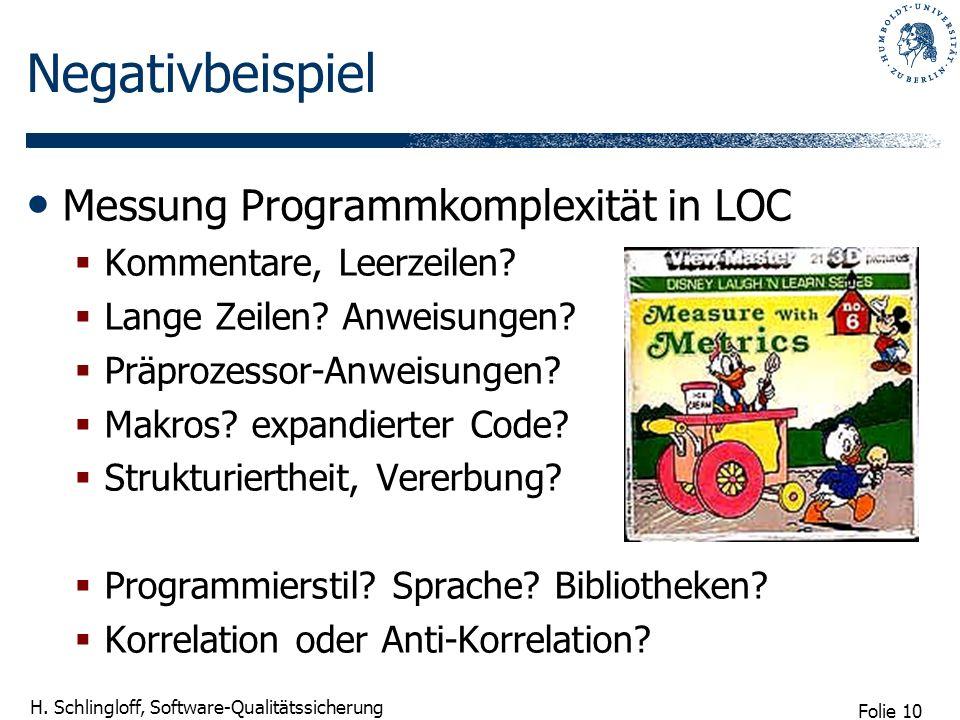 Negativbeispiel Messung Programmkomplexität in LOC