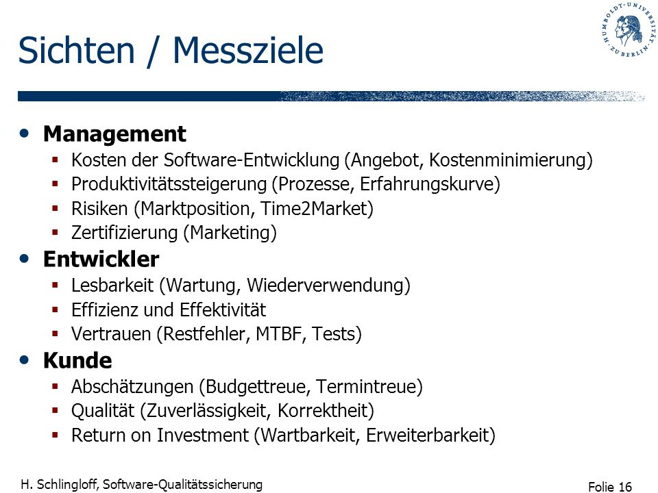 Sichten / Messziele Management Entwickler Kunde