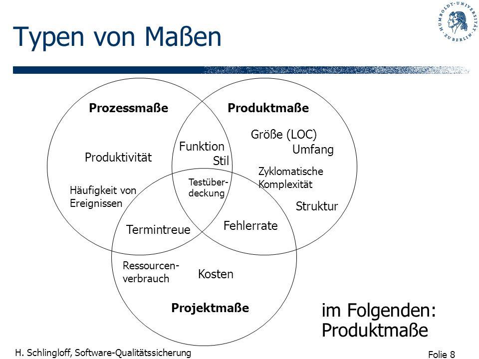 Typen von Maßen im Folgenden: Produktmaße Prozessmaße Produktmaße
