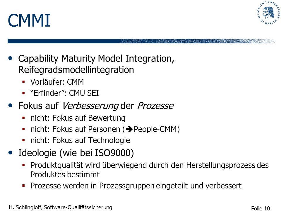 CMMI Capability Maturity Model Integration, Reifegradsmodellintegration. Vorläufer: CMM. Erfinder : CMU SEI.